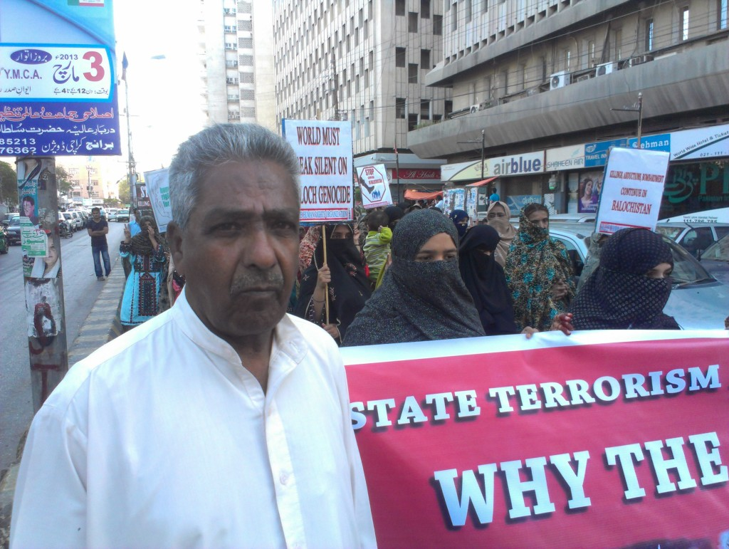 Mama Qadeer at a protest in front of Karachi Press Club in 2013