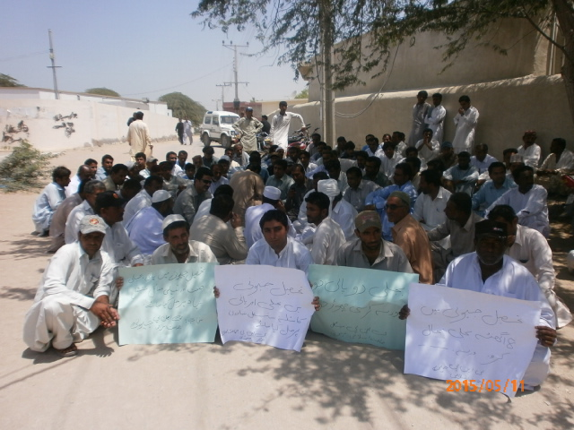 Jeevani residents protesting in front of DC Office, Gwadar