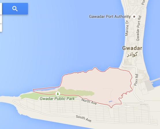 The location of Bateel Hill in Gwadar